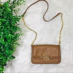 Tory Burch Cognac Leather/Chain Crossbody Gold